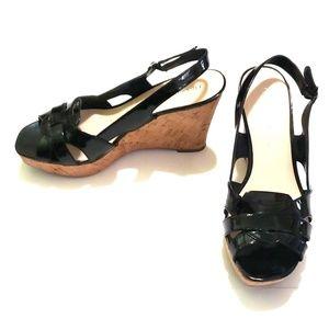 《Franco Sarto》Black Cork Sandals 8.5M Casey Wedges